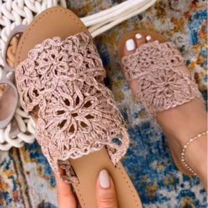 Woven Slide Sandals in Blush Nude